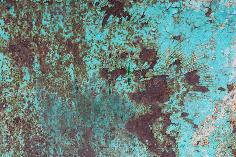 Cracked paint and rusted metal background stock photography