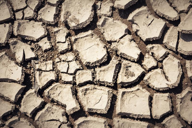 Cracked and parched earth in a lake bed. India, Cracked and parched earth in a river bed royalty free stock photography