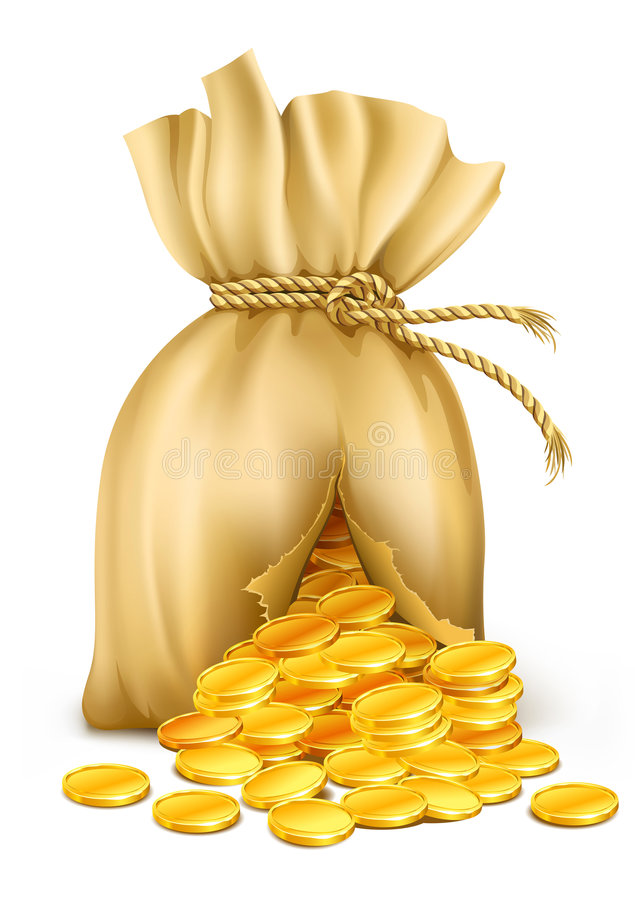 Cracked sack wired by rope with gold coins