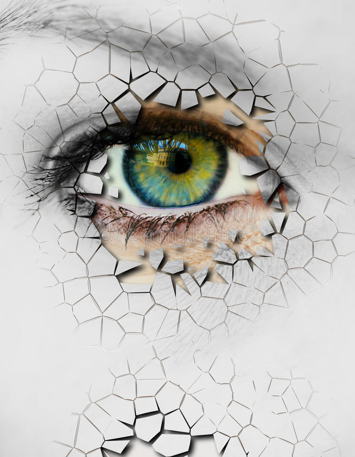 Cracked Skin. Closeup of a female eye with cracked skin stock photography