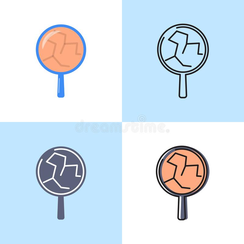 Cracked skin icon set in flat and line style vector illustration