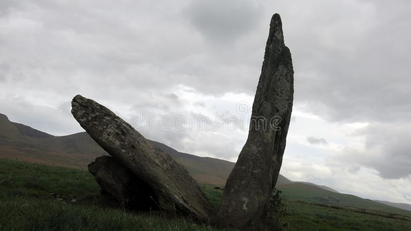 Cracked Standing Stone at Doonmanagh royalty free stock images