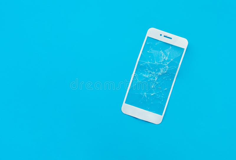 Cracked tempered glass shield,film screen cover for mobile phone. Protector concepts ideas stock photos