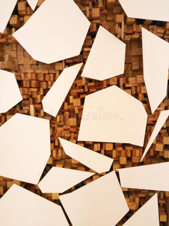 Cracked tiles and wood trim vector illustration
