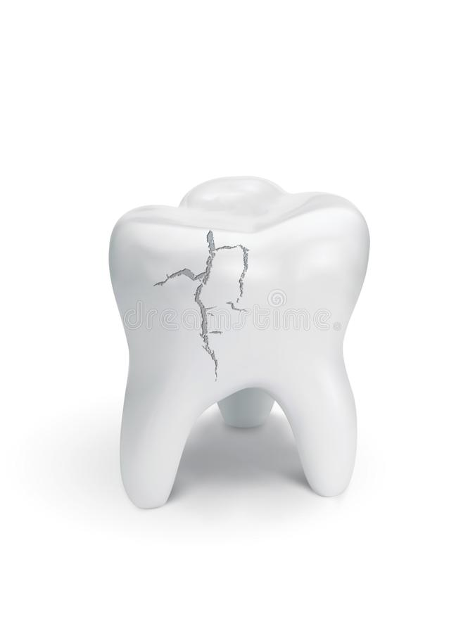 Cracked tooth on white background. stock illustration