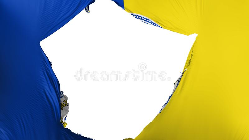 Cracked Trenton capital city flag. Cracked Trenton city, capital of New Jersey state flag, white background, 3d rendering stock illustration