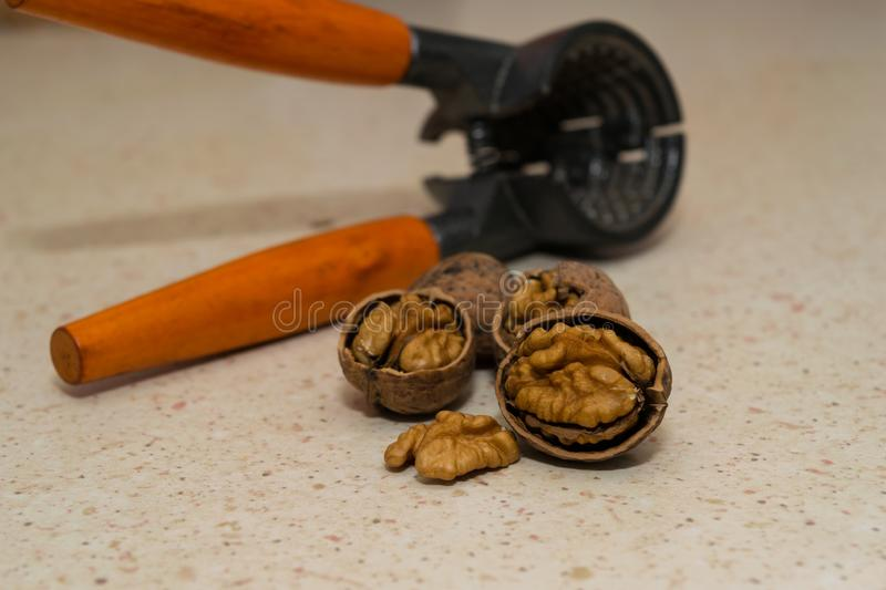 Cracked wallnuts with nut cracker in the background stock photos