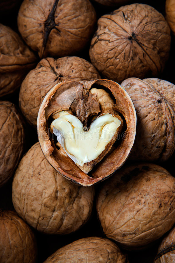 The cracked walnut with heart-shaped core royalty free stock photo