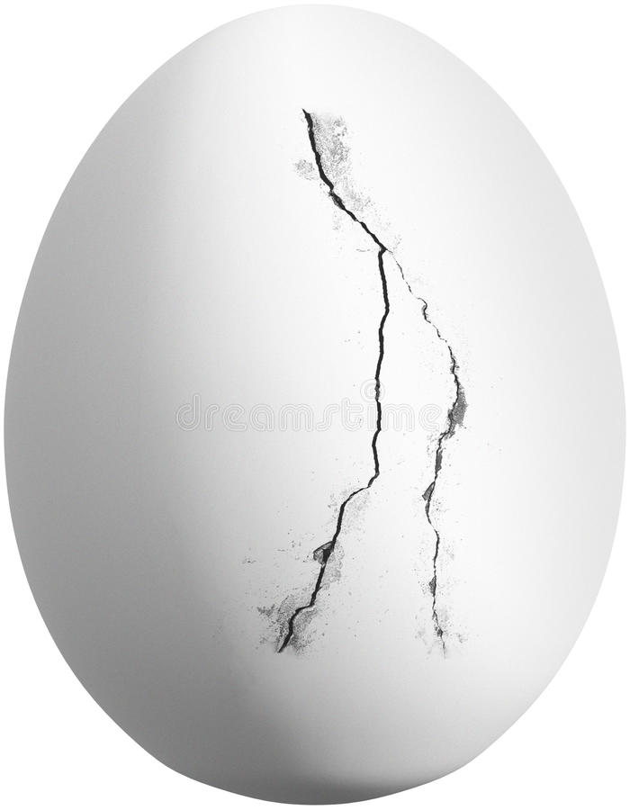 Cracked White Chicken Egg Isolated. Cracked white chicken egg. The edible food item has a crack in the shell. Isolated on white, PNG file available royalty free stock image