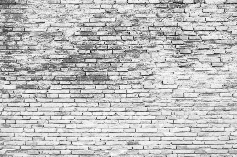 Cracked White Grunge Brick Wall Background(Black And White