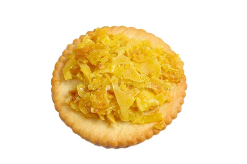 Cracker con il durian di appoggio fotografia stock