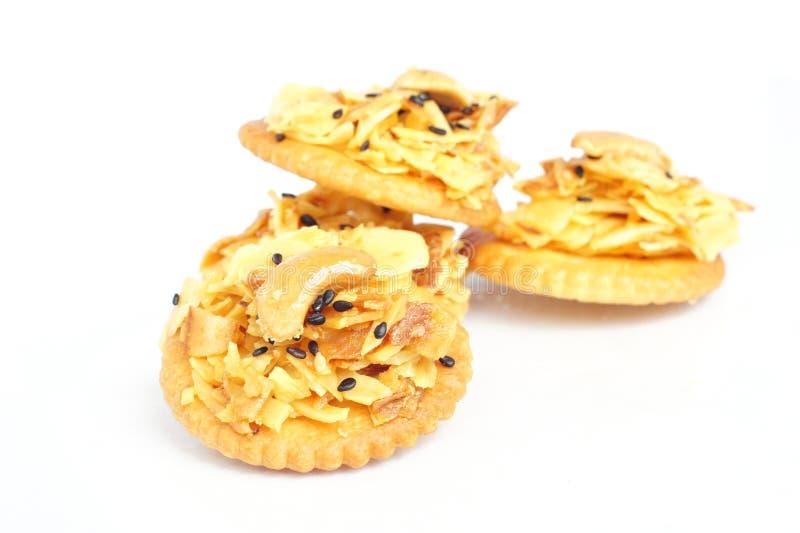 Cracker con il durian di appoggio ed il sesamo nero fotografie stock