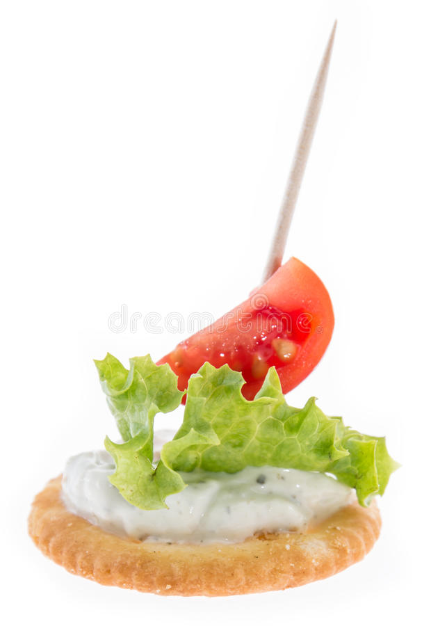 Cracker with Cream Cheese on white royalty free stock photos