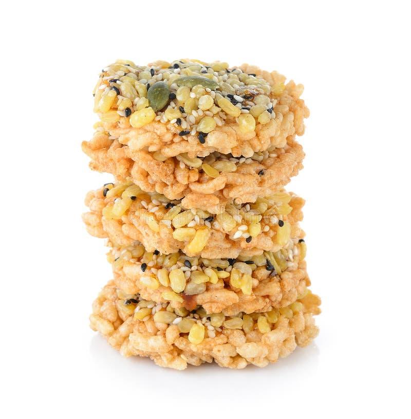 Cracker croccante dolce tailandese del riso con Cane Sugar immagine stock