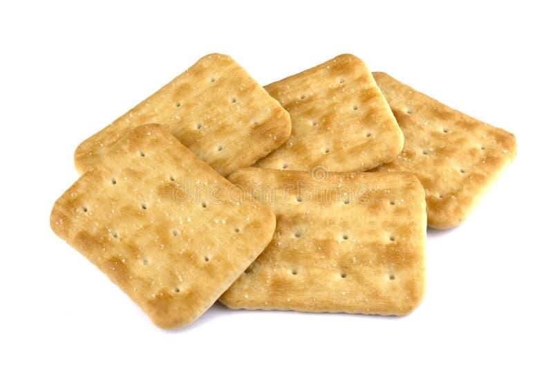 Cracker croccante isolato su fondo bianco fotografia stock libera da diritti