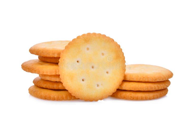 Cracker del biscotto isolati su bianco immagine stock
