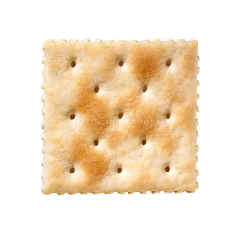 Cracker del Saltine isolato su bianco fotografia stock
