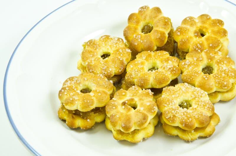 Cracker della materia dell'igname della mela del pino con zucchero fotografia stock
