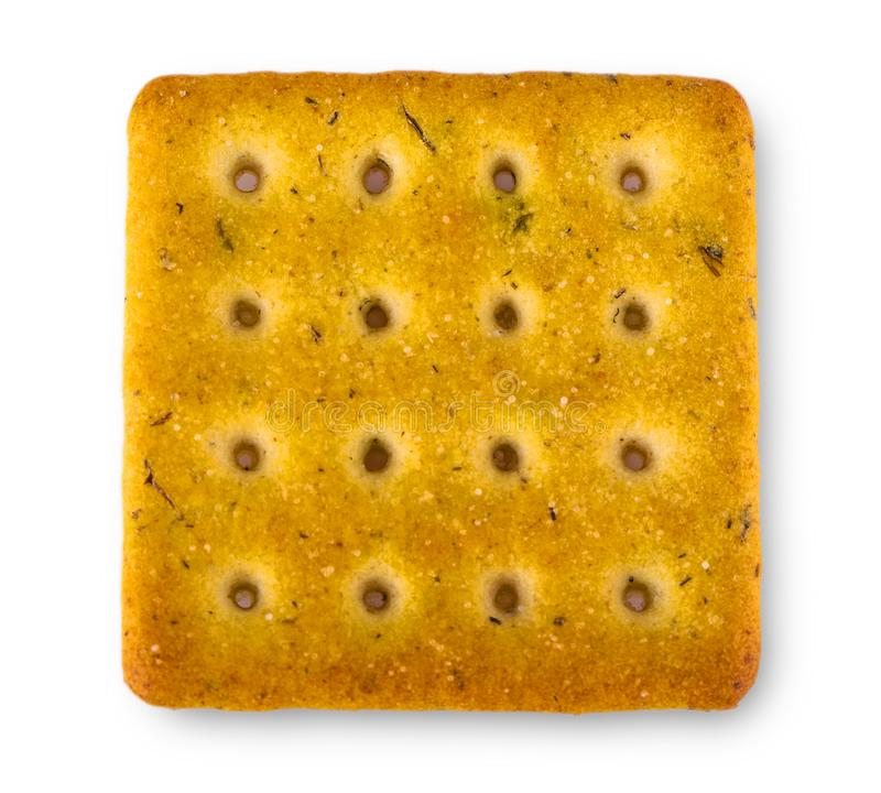 Cracker die op witte achtergrond wordt geïsoleerdg stock foto