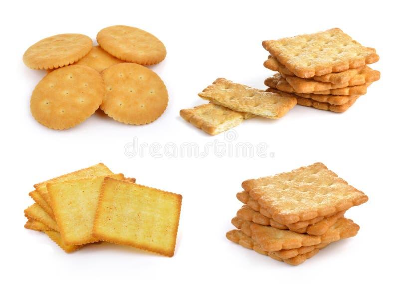 Cracker die op witte achtergrond wordt geïsoleerdg stock fotografie