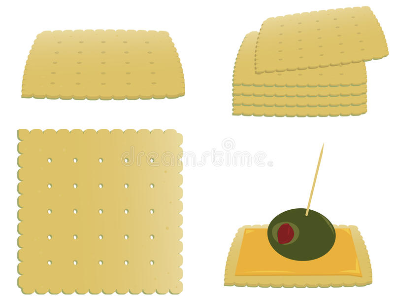 Cracker ed antipasto quadrati illustrazione vettoriale