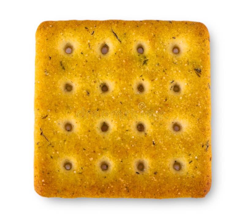 Cracker isolato su priorità bassa bianca fotografia stock