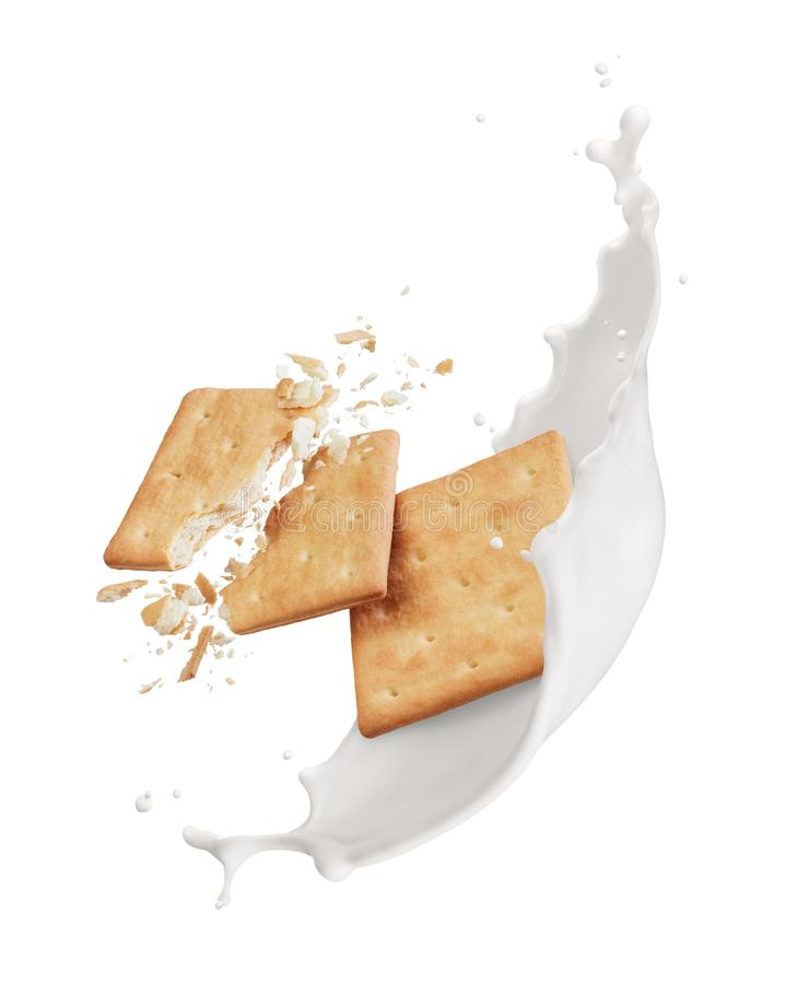 Cracker mit Milch stockfoto