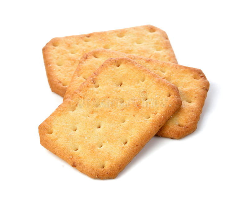 Cracker op over witte achtergrond wordt geïsoleerd die stock afbeelding