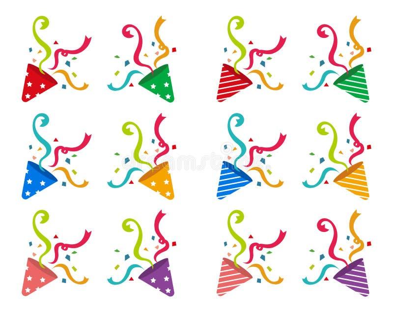 Cracker , party popper vector illustration set vector illustration