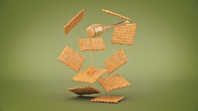 Cracker und Honig 3D-Darstellung stock abbildung
