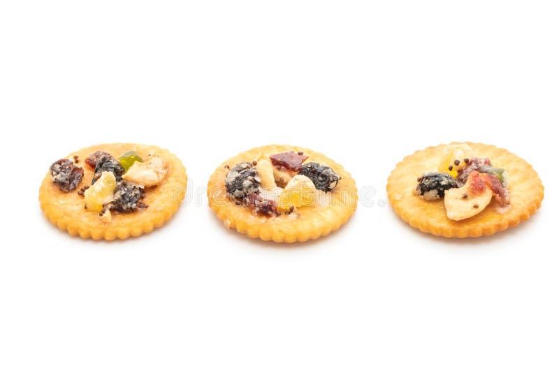 Crackerkeks mit Trockenfrüchten lizenzfreie stockbilder