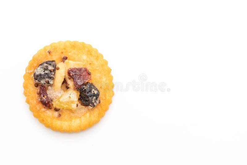 crackerkoekje met droge vruchten royalty-vrije stock afbeelding