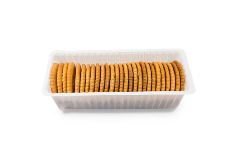 Crackerkoekjes op witte achtergrond stock fotografie