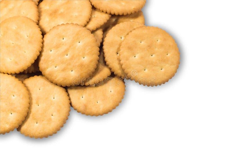 Crackerkoekjes op witte achtergrond worden geïsoleerd die royalty-vrije stock afbeelding