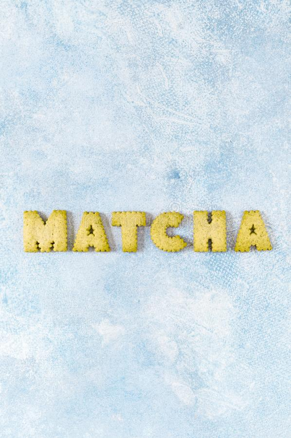 Crackers Arranged as a Word Matcha royalty free stock photo