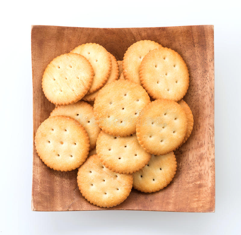 Crackers or biscuits. On white background royalty free stock images