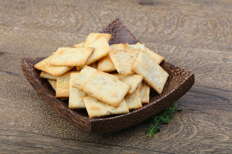 Crackers in the bowl stock photography