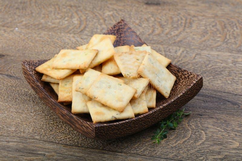 Crackers in de kom stock fotografie