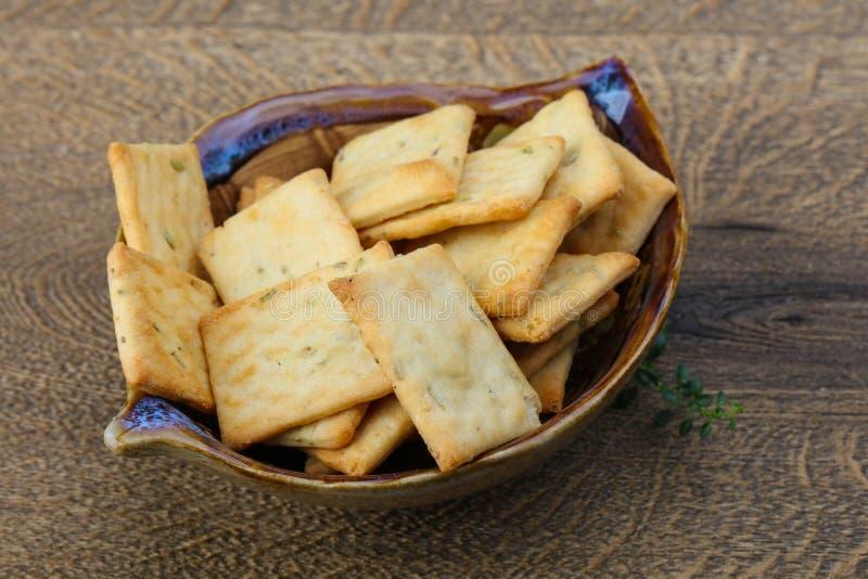 Crackers in de kom royalty-vrije stock afbeelding