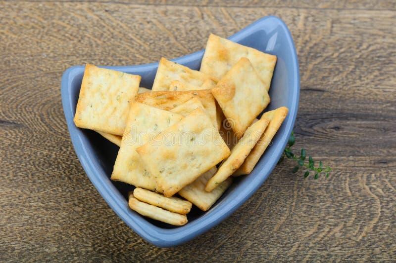 Crackers in de kom royalty-vrije stock foto's