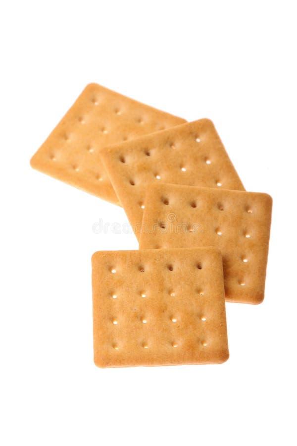 Crackers die op wit worden geïsoleerdo royalty-vrije stock foto