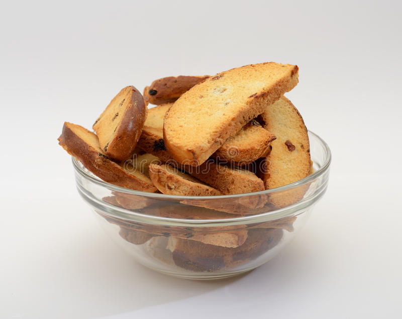 Crackers on a plate stock image