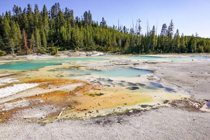 Cracking lake in Norris Geyser Basin, Yellowstone National Park stock photos