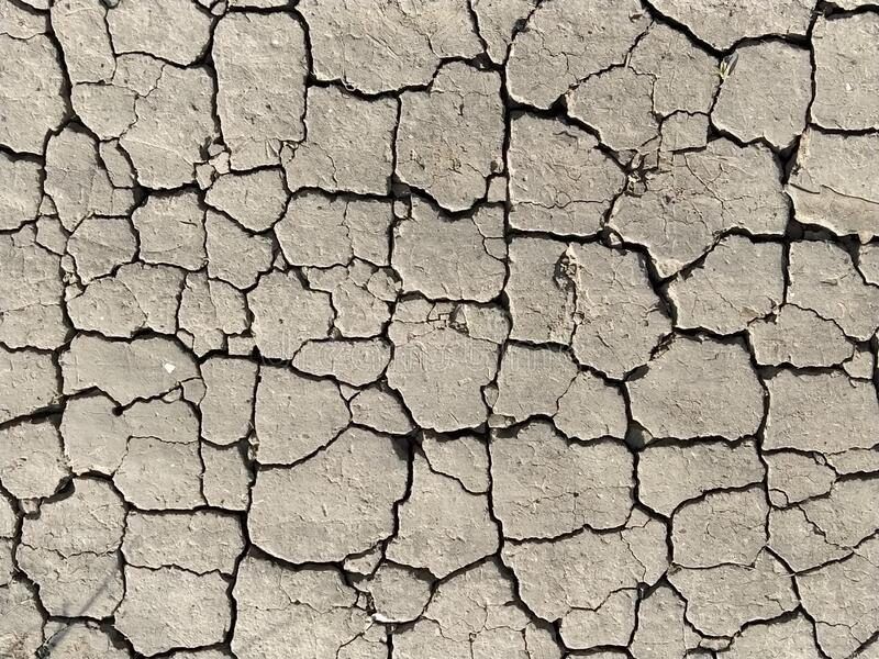 Cracks in the ground. Aridity. Gray soil. Desert. Close up of cracked mud. Texture.  stock images