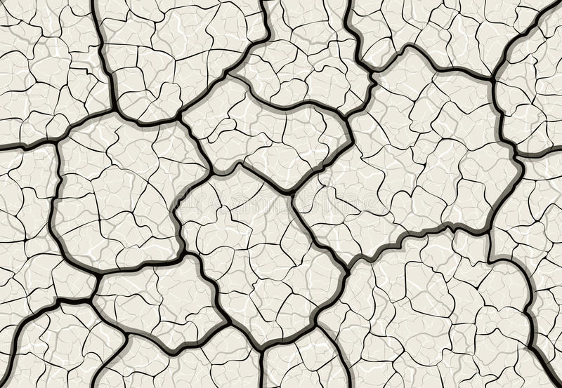 Cracks in the ground seamless pattern. Dry cracked mud with layered depth cracks seamless pattern vector illustration
