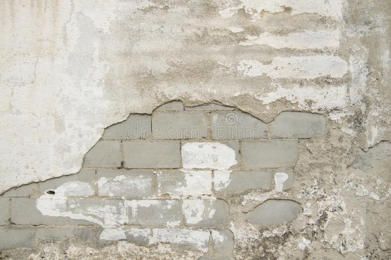 Cracks in a old White Cement Wall Texture for background and design art work. Old Simple White Cement Wall grungy. Texture for background and design art work stock photos