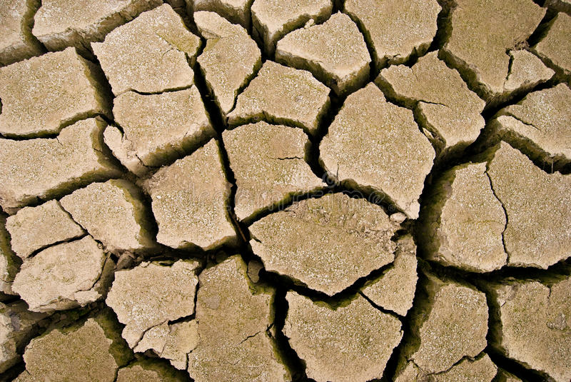 Cracks in the parched earth. Parched lake. Cracks on dry land in the desert royalty free stock photo
