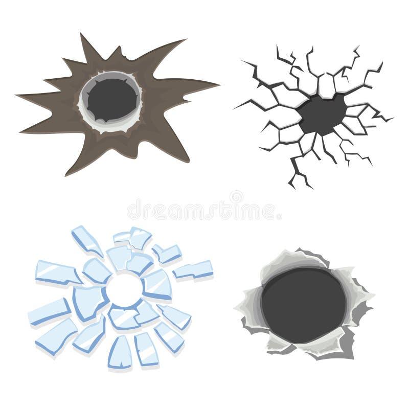 Cracks set, broken glass or wall, cracked ground or Bullet holes. Vector royalty free illustration
