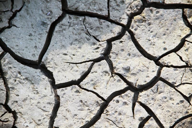 Cracks of the white soil in the dry season, the effect of global warming royalty free stock photo