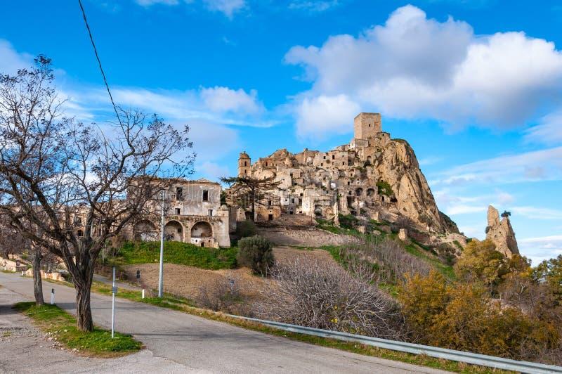 Craco, η πόλη-φάντασμα κοντά σε $matera, η πόλη των πετρών Craco διάσημο στον κόσμο για τη χρησιμοποίηση στις ταινίες και τη διαφ στοκ φωτογραφίες με δικαίωμα ελεύθερης χρήσης